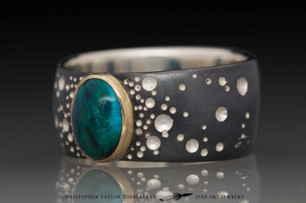 Hubble Sterling Silver Star Pattern Ring with Black Opal ...