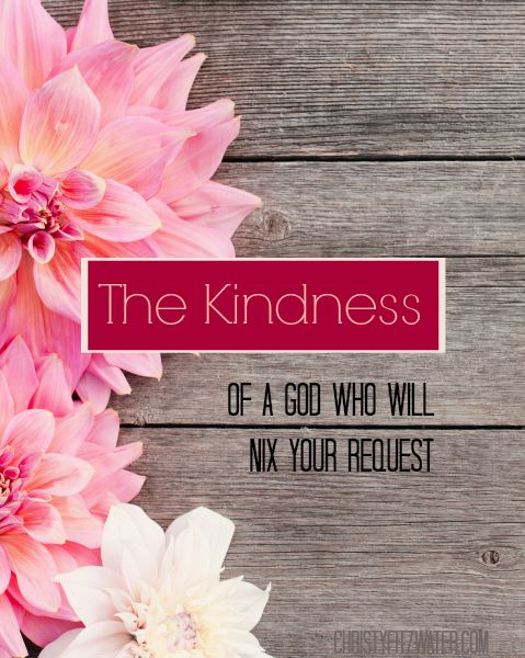 The Kindness of A God Who Will Nix Your Request  -christyfitzwater.com