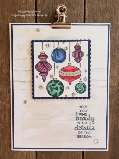 Beautiful Baubles stamp set, Frost White Shimmer Paint, Night of Navy cs, and colored with the Blends.