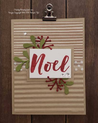 For this simple Christmas Pines stamp set and Pretty Pines thinlit dies card I used the Frosted Floral Specialty DSP and the Corrugated embossing folder.