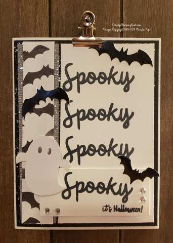 Paper pumpkin alternative September 2018 kit card with bats and a ghost..