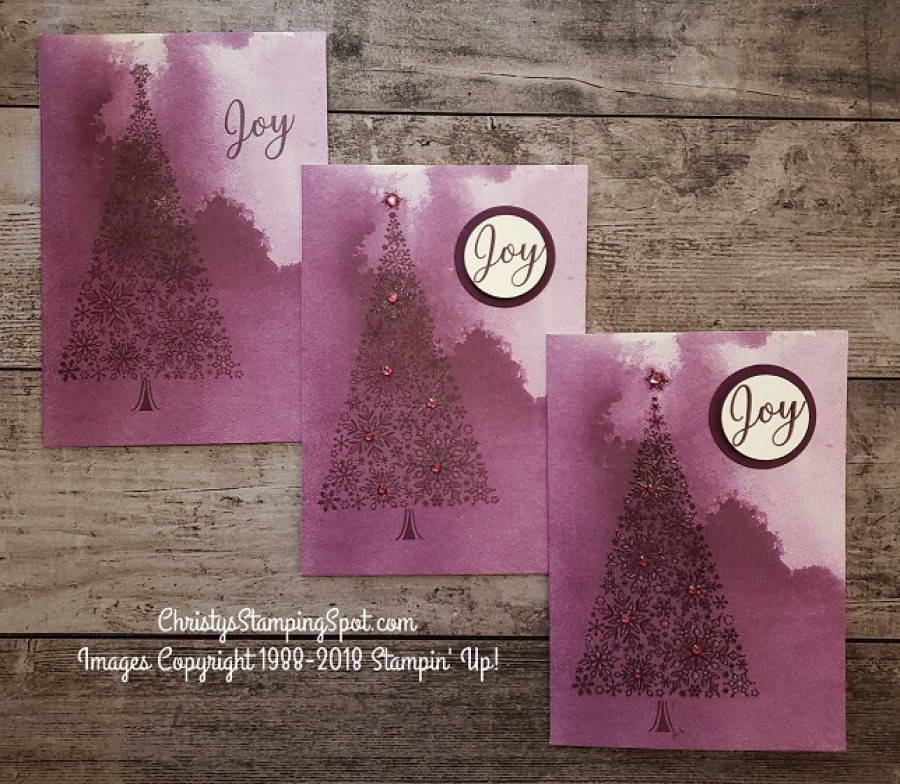 Three step it up cards using the Snow is Glistening, rhinestones,  Stamparatus clear embossing, and Delightfully Detailed Note Cards card.