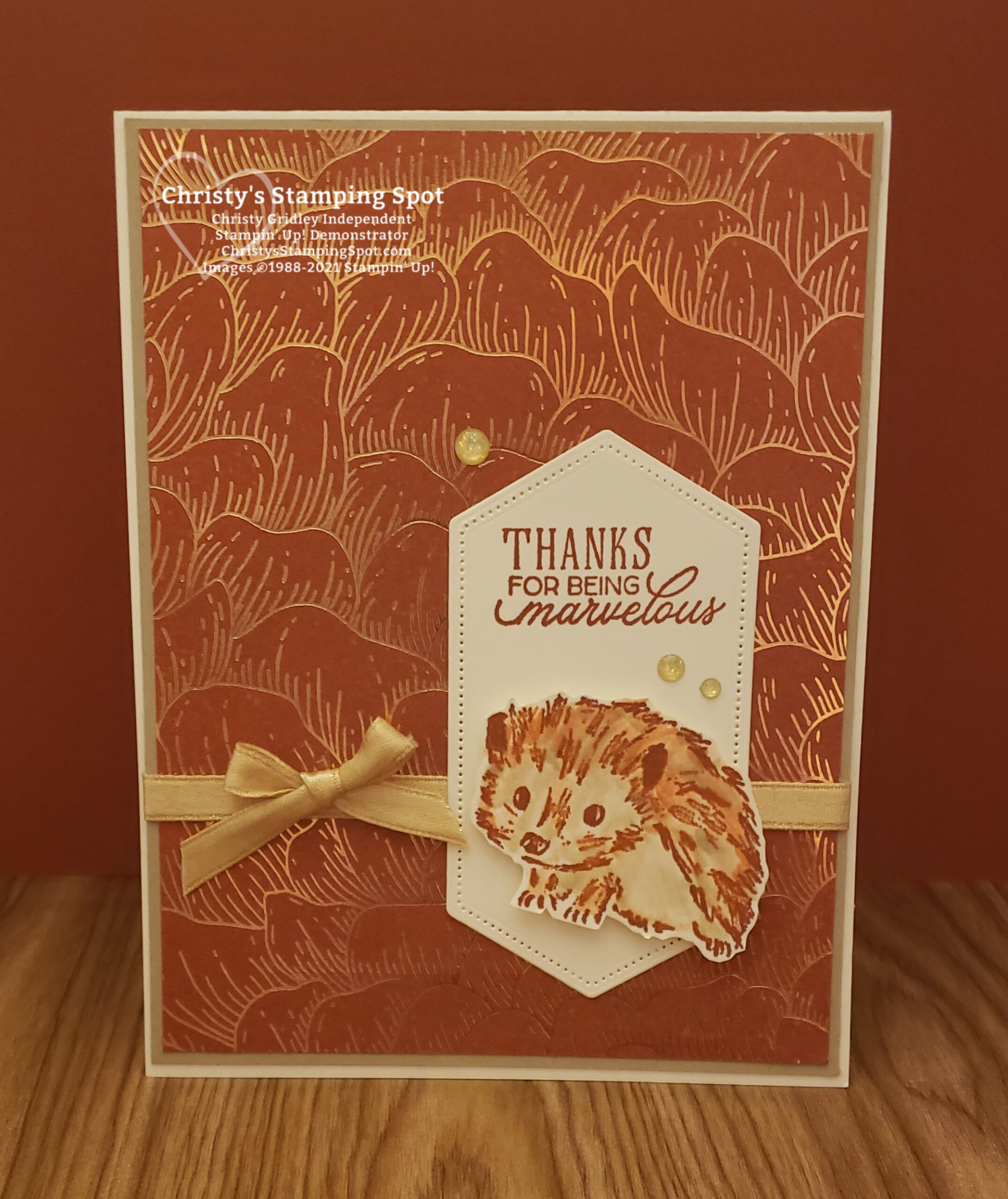 Stampin' Up! Walk in the Woods stamp set, Gilded Autumn Specialty Designer Series Paper, and Stitched Nested Labels Dies #WalkInTheWoods