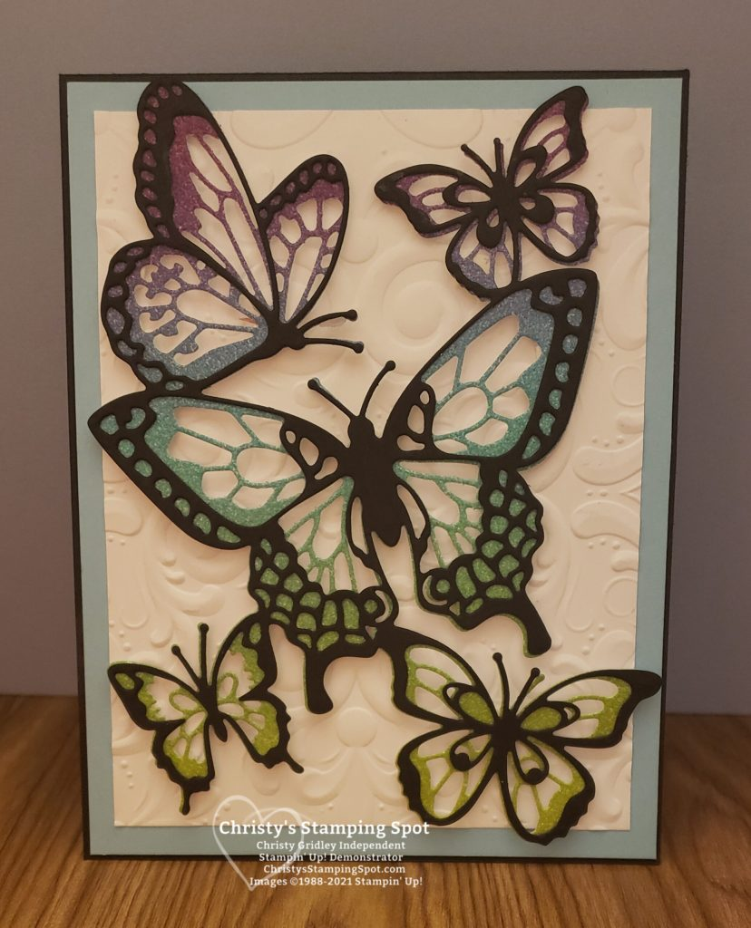 Stampin' Up! Butterfly Beauty Dies, Rainbow Glimmer Paper, Parisian Flourish 3D embossing folder, and Beauty Abounds stamp set. #ButterflyBeauty
