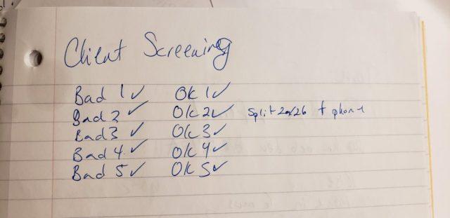 Handwritten list of slides in the scenario