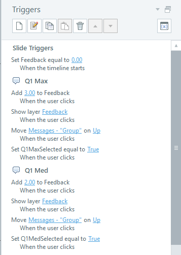 Screenshot of the Triggers pane. The triggers are explained in the list preceding this image.