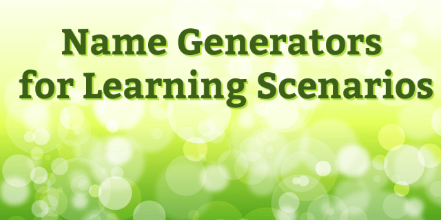 Name Generators for Learning Scenarios