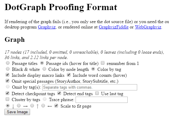 Screenshot of DotGraph settings