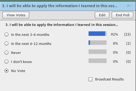 Survey results I ill be able to apply the information I learned in this session * In the next 3-6 months: 92% * In the next 6-12 months: 8%