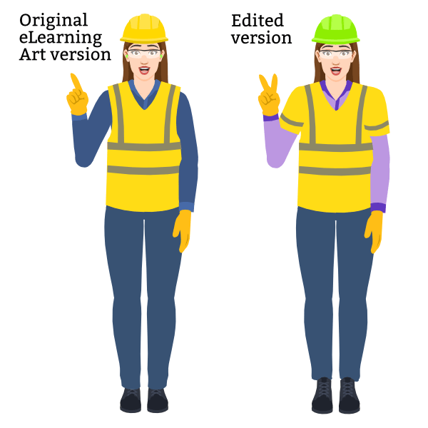 Two versions of an illustrated character from eLearning Art. The original version on the left has a yellow hard hat, ear plugs, and a safety vest. The edited version on the right has a green hard hat, no ear plugs, and a safety vest with sleeves.