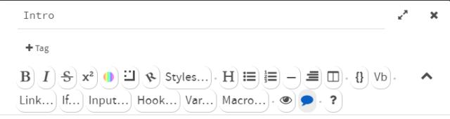 Screenshot of the Harlowe toolbar