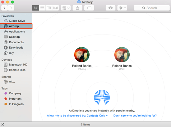 AirDrop Folder in Finder