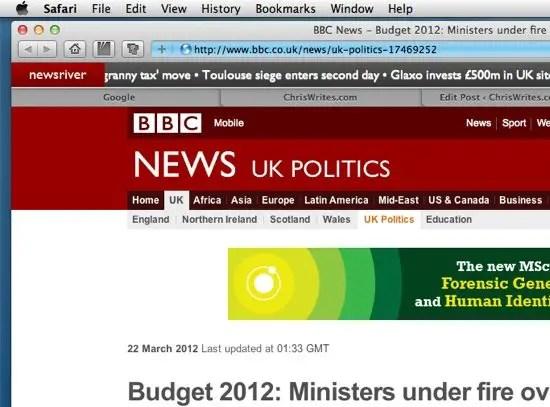 Newsriver extension screenshot