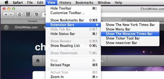 Extension bars in the view menu