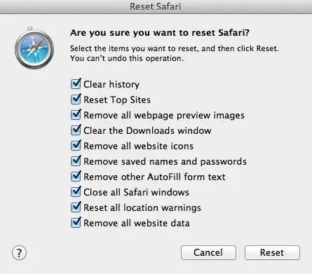 Reset Safari Image