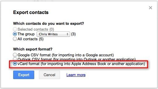 Export Google Contacts To vCard