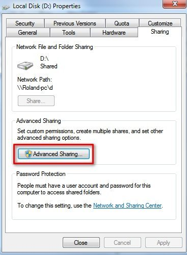 PC - Advanced Sharing Options