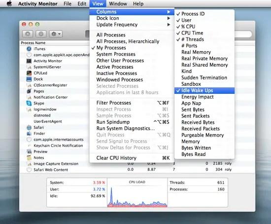 Activity Monitor Column Options