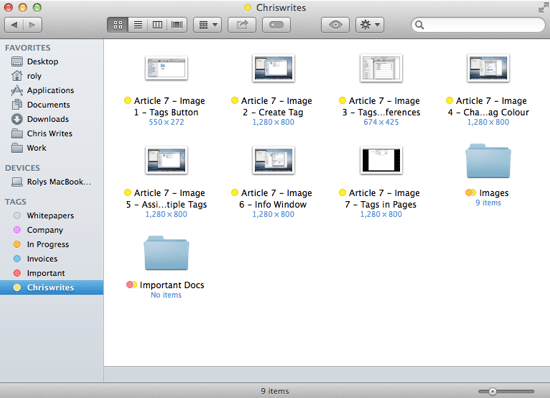 Tags in Finder