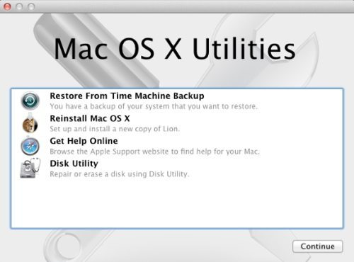 Mac OS X Utilities screen