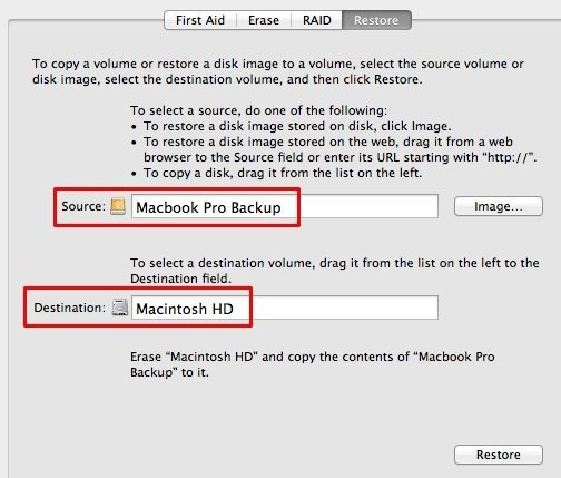 Disk Utility restore feature