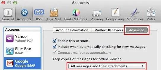 Download attachments pop-up menu