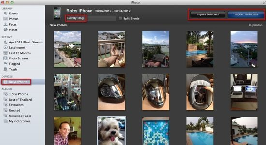 iPhoto Step 2 - Choose Photos and Event Name