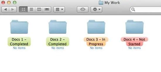 Labels on folders screenshot