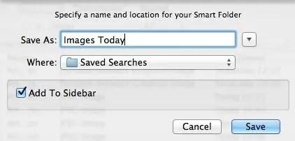 Save a smart folder screenshot