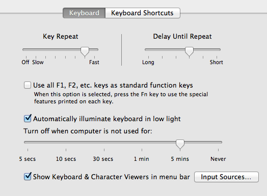 Amaya keyboard shortcuts for Mac OSX