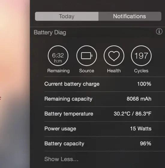 Battery Diag - Notification Centre