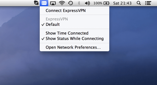 Connect to the VPN from your Mac's menu bar