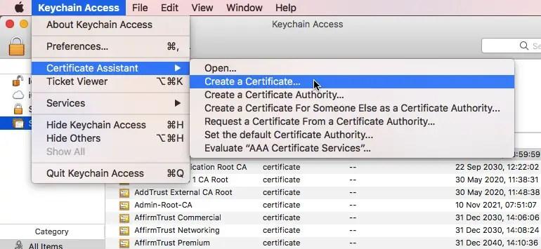 create a certificate