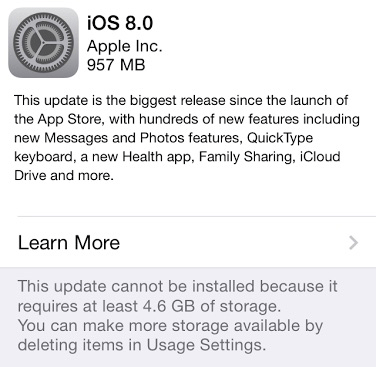 iOS 8 Upgrade - Update Screen