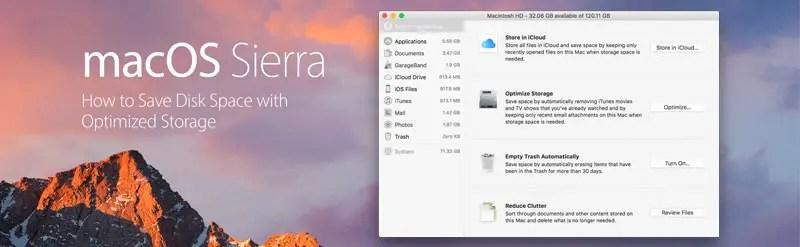 Optimized storage header, macOS Sierra