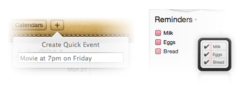 quick event and reminders in Lion