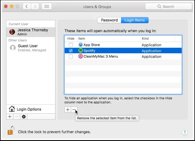 remove login items