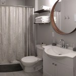 Panoramic shot of bathroom