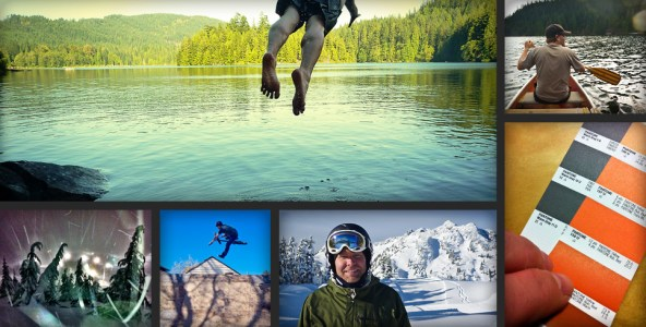 Collage of what I get up to when I'm not designing. I'm big on getting outside and getting at it — whether it's on the water, biking or knee deep in the snow.