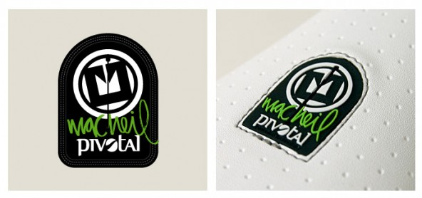 The Pivotal logo patch concept drawing, and the final seat patch as it shipped on the production run.