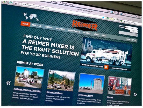 The Reimer Alliance corporate website's front page puts the video(s) front and centre to best describe their mixers capabilities. The user can choose to start with a shorter intro video, or view a longer, more in-depth video.
