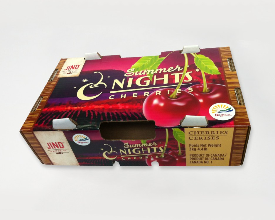 The Summer Nights™ Cherries 4.4lb 'retail' box was designed to be exported, showcasing Canadian quality. It needed to be more vibrant than the existing cherry boxes. These were offset printed on white stock, and laminated onto paperboard. I didn't design this box, but is a spinoff of the original cherry boxes to keep Jind's unified look.
