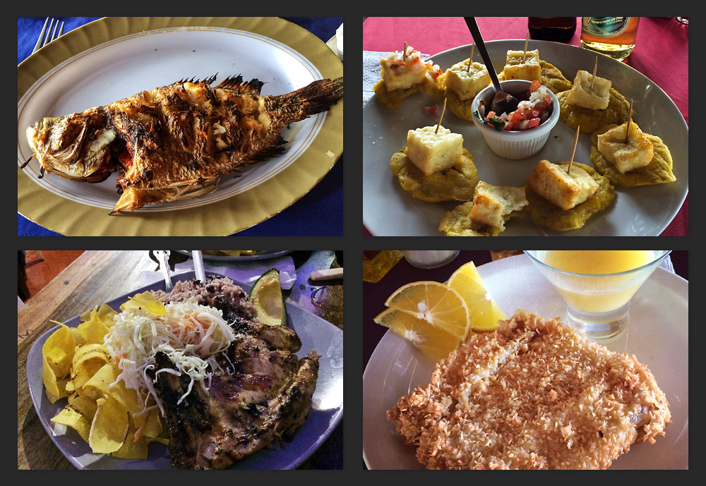So much great food in Nicaragua from open street market grills to nice restaurants. The coconut-crusted fish (bottom right) was definitely a favourite.