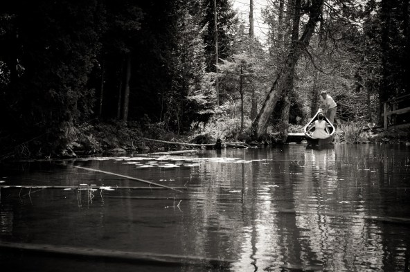 We're big canoeists, so why wouldn't be break out the vintage Chestnut canoe that's out at the camp? We paddled down to the far end of the lake (with the photographer following close behind in a rowboat) and he was able to capture some amazing images.
