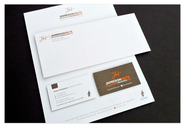 Jamieson-Hilts stationery package overview with the letterhead, envelope and business cards.