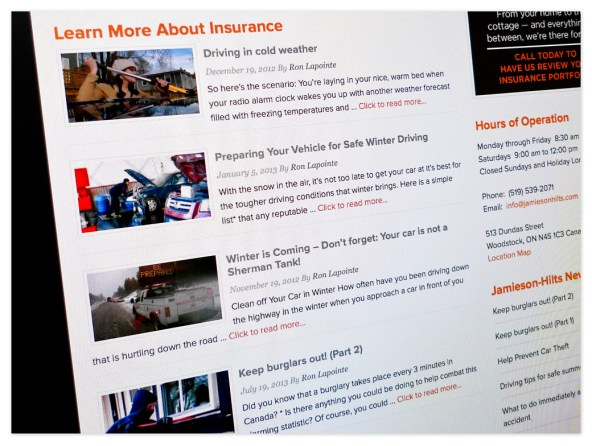 Tips and news about insurance products and services also appear on the front page – no shortage of information to pass along to customers looking for more information and tips.
