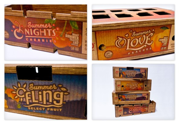 Overview of some of the Jind Fruit boxes. From top left: Summer Nights™ Cherries tray; Summer Love™ Peaches lattice box; Summer Fling™ Select Fruit lattice box; and all the boxes stacked together make a unified product line.