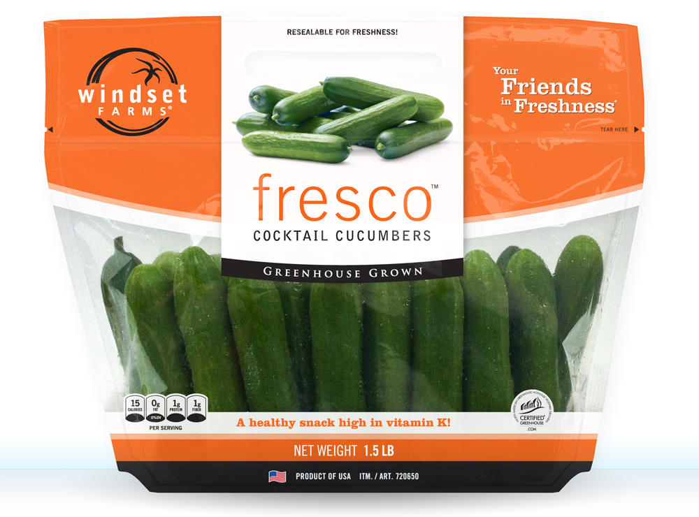 This is the first composite that I made of the new bag design for Fresco® Cocktail Cucumbers, Photoshopping on top of an existing bag that I shot. This was presented to Costco for their buy-in approval. This is the simpler English only version for sale in the USA.