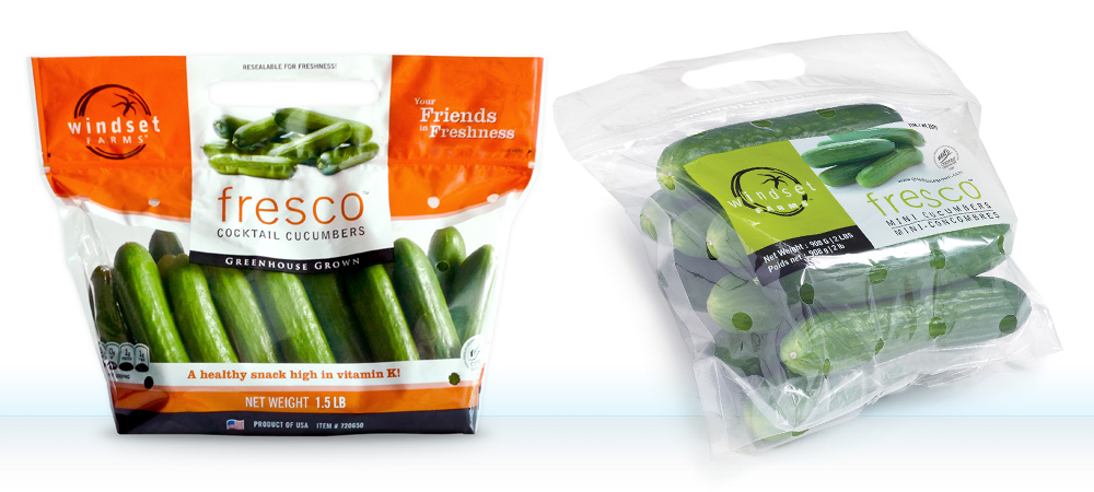 The new bag design on the left has more shelf presence, more vibrant complementary colours to make the produce stand out, and the 'fresco' sub-brand is brought up to the top front and centre. The introduction of health claims and nutrition barrels are also more retail-friendly components of the new design.
