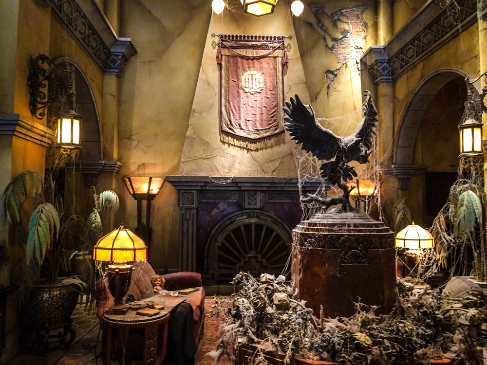 Lobby of the Tower of Terror (the Hollywood Tower hotel ride) at Disneyland – definitely one of my favourite rides there. They did an amazing job decorating this entire feature.